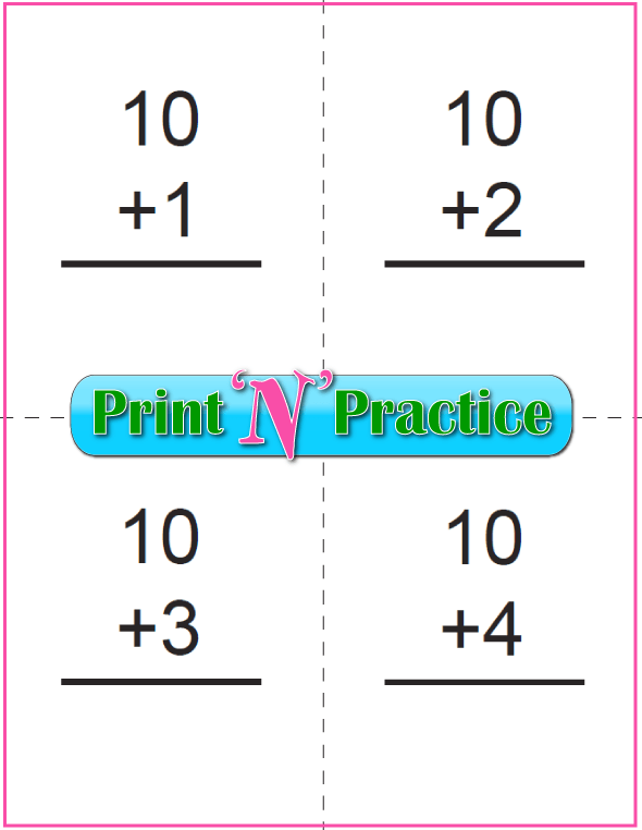 Printable Addition Flash Cards: Adding Ten