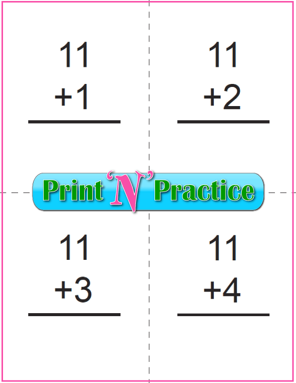 Printable Addition Flash Cards: Adding Eleven