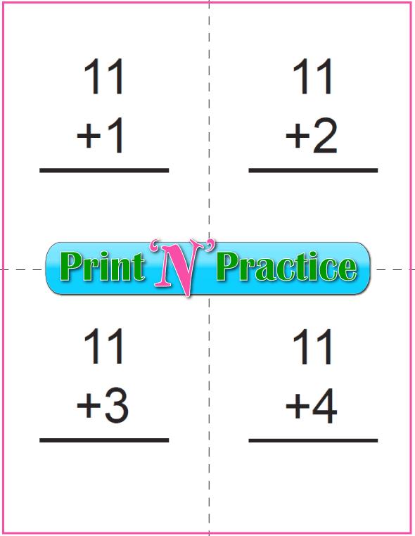 Printable Addition Flash Cards: Adding Eleven