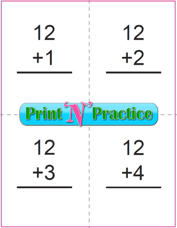 Printable Addition Flash Cards: Adding Twelve