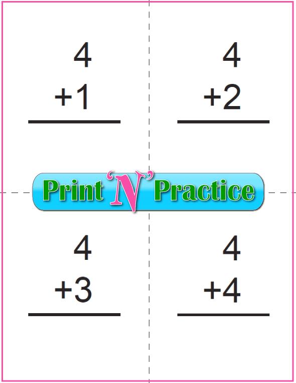 Printable Addition Flash Cards: Adding Four