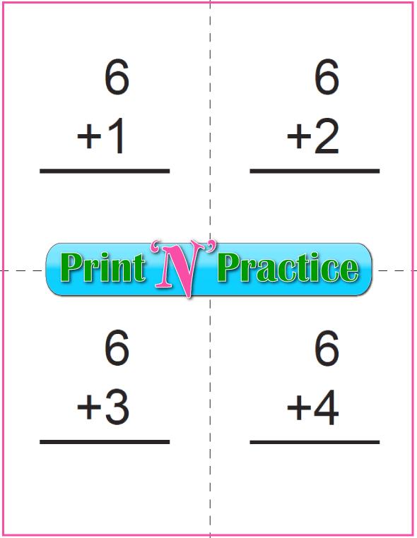 Printable Addition Flash Cards: Adding Six