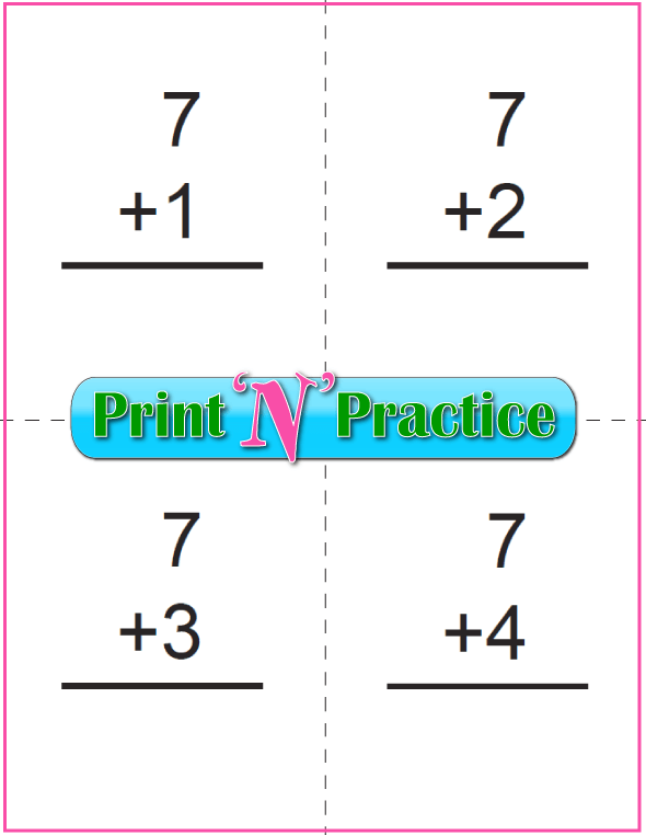 Printable Addition Flash Cards: Adding Seven