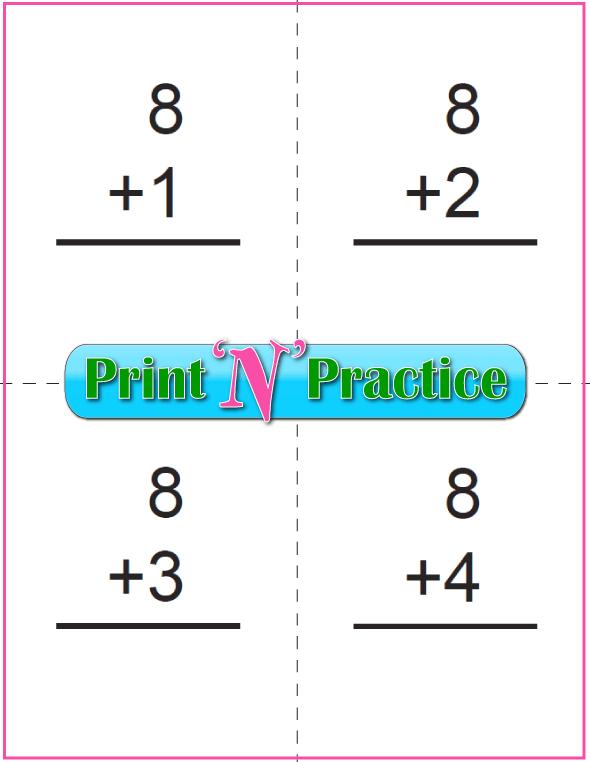 Printable Addition Flash Cards: Adding Eight