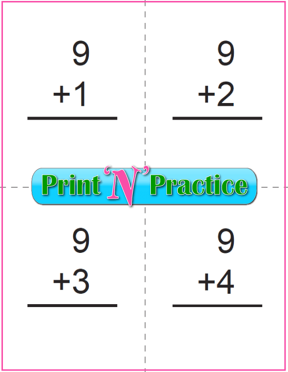 Printable Addition Flash Cards: Adding Nine