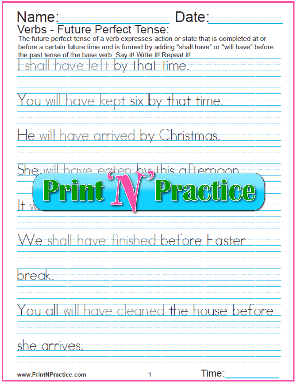 Future Perfect Tense Worksheets