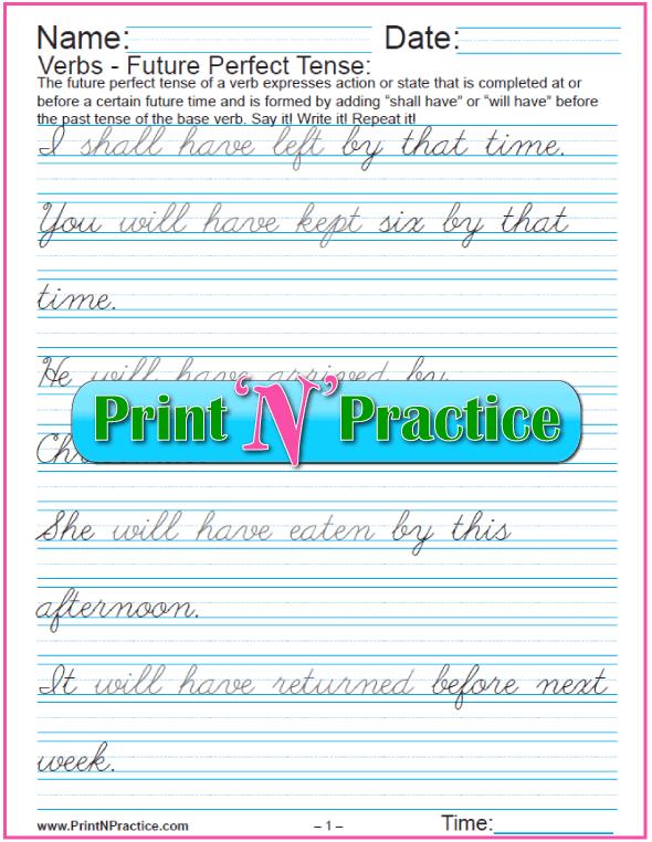 Cursive Future Perfect Tense Worksheets