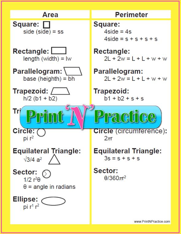 3 Printable Geometry Formula Sheet