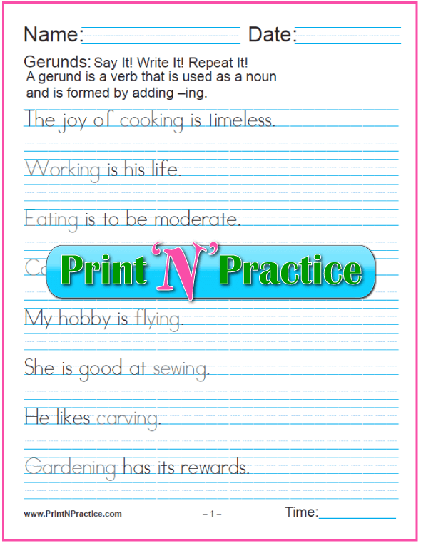 Simple Manuscript Gerund Worksheets for teaching the gerund and infinitive. PrintNPractice.com #PrintableGerundWorksheets