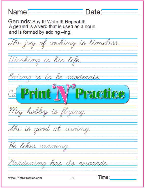 Simple Cursive Printable Gerund Worksheets for teaching the gerund and infinitive. PrintNPractice.com #PrintableGerundWorksheets