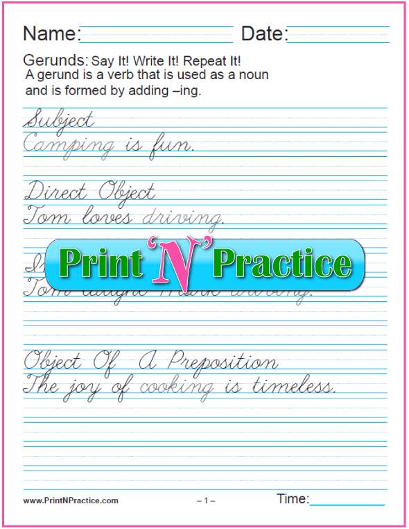 Cursive Printable Gerund Worksheets: Gerunds as Subject, Objects, Complements for teaching the gerund and infinitive. PrintNPractice.com #PrintableGerundWorksheets