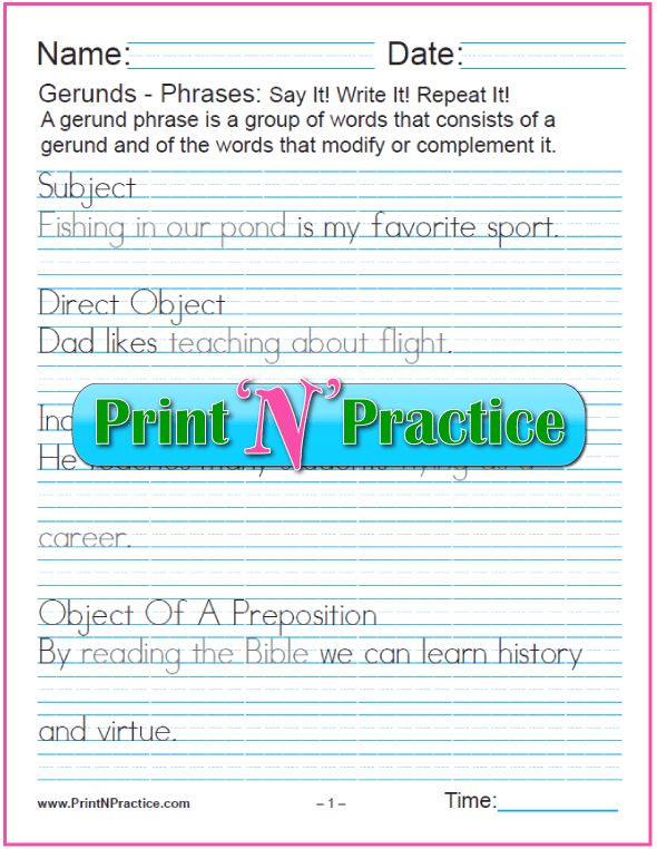 Gerund Phrases worksheets for teaching the gerund and infinitive. PrintNPractice.com #PrintableGerundWorksheets