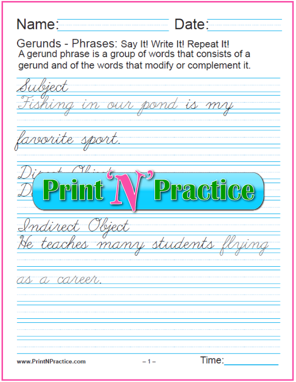 Cursive Gerund Phrases worksheets for teaching the gerund and infinitive. PrintNPractice.com #PrintableGerundWorksheets