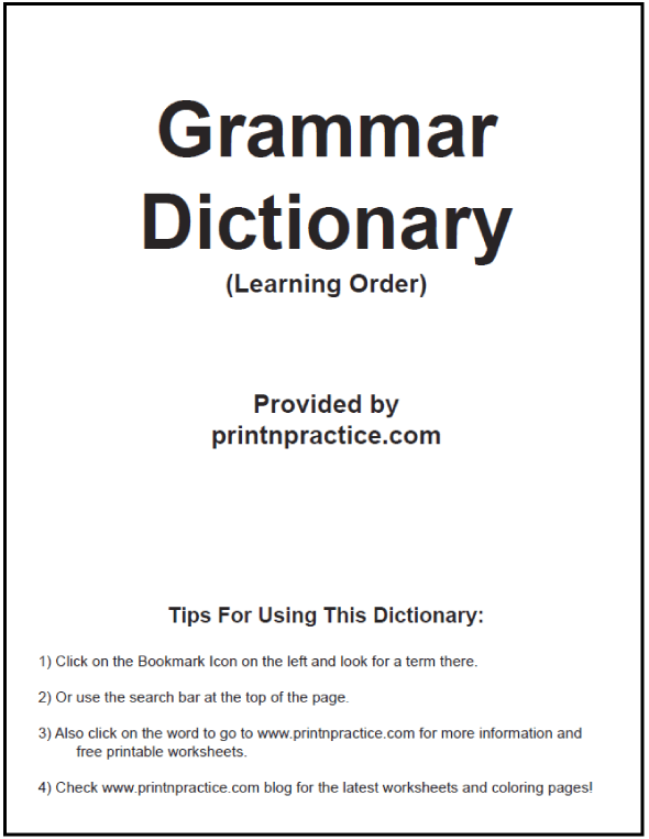 English Grammar Definitions Ebook: Print in learning order or alphabetical order. https://www.printnpractice.com/grammar-definitions.html #EnglishGrammarDefinitions #PrintableGrammarEbook