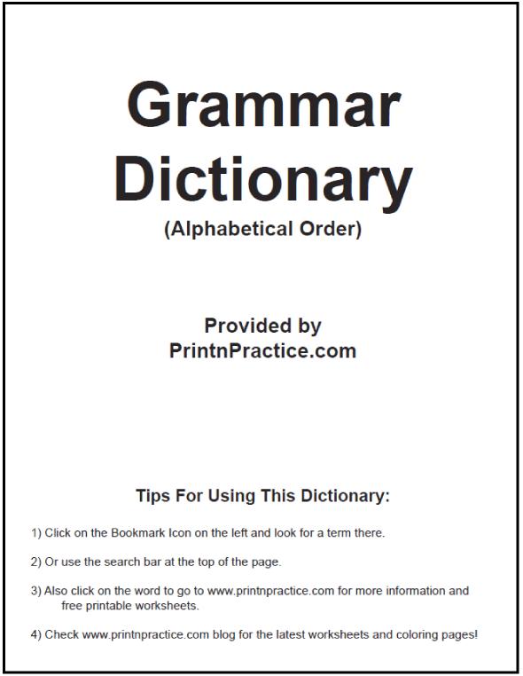 English Grammar Dictionary Ebook in alphabetical order. Great Teacher's desk reference booklet. #PrintableGrammarDictionary #GrammarEbook