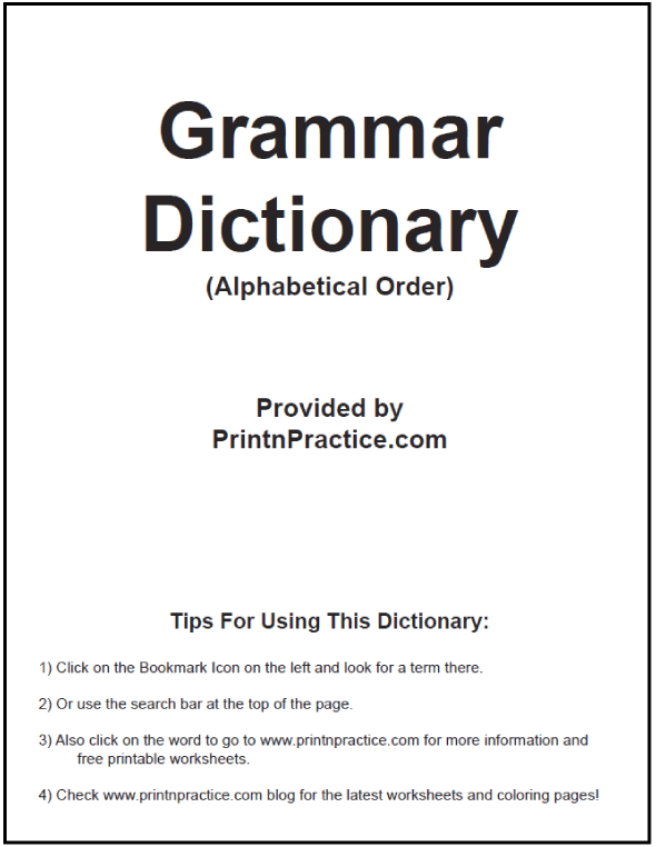 English Grammar Dictionary Ebook in alphabetical order. Great Teacher's desk reference booklet. #PrintableGrammarDictionary #GrammarEbook