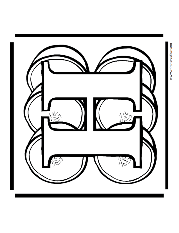 H For Honeydew Alphabet Coloring Page