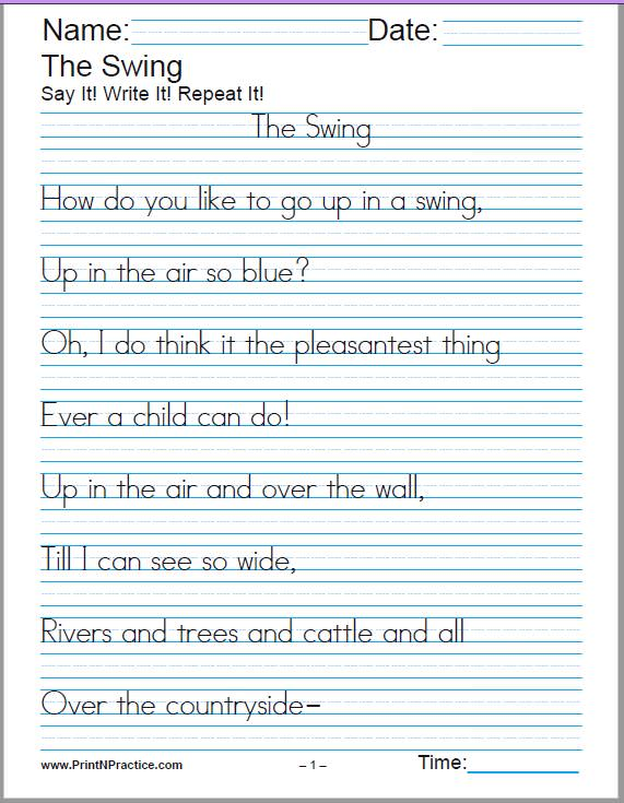 Free handwriting worksheets generator