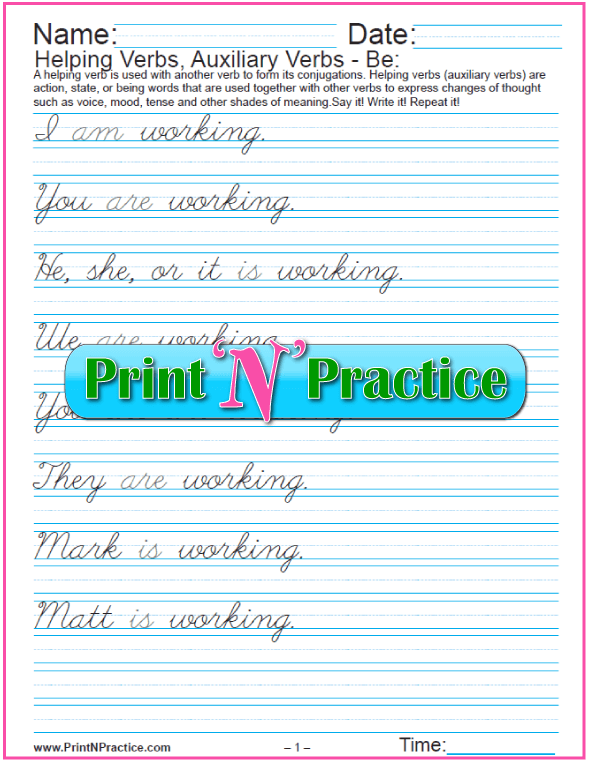 Cursive Helping Verbs: To Be Worksheets