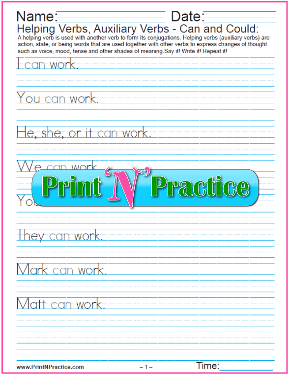 Printable Verb Worksheets: Cursive Modal Auxiliary Verbs - Can and Could