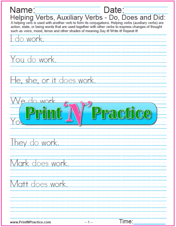 Helping Verbs - Do, Does, Did Worksheets