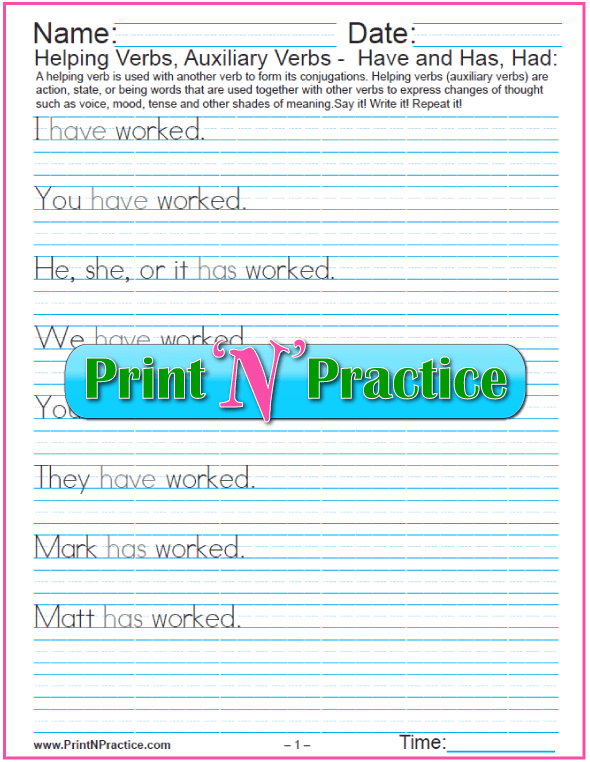 Have, Has, Had: Sentences With Helping Verbs Worksheets