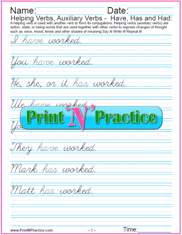 Have, Has, Had exercises: Cursive Sentences With Helping Verbs Worksheets