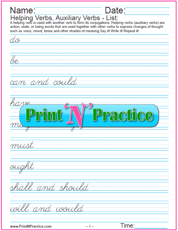 Cursive List of Helping Verbs in PDF