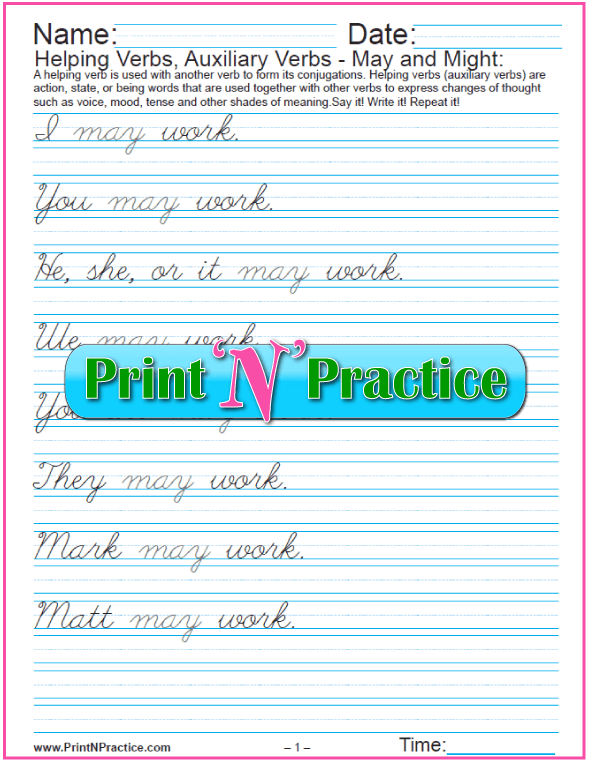 Cursive Auxilliary Verbs Exercises: May and Might
