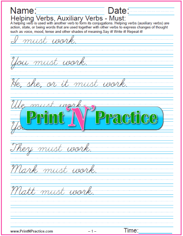 Cursive Auxiliary Verbs In English: Modal Verb Must