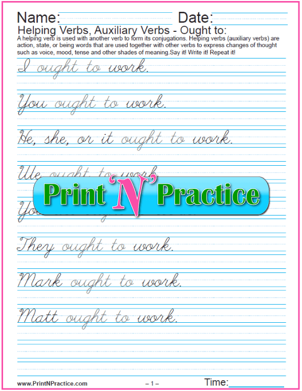 Cursive Modal Auxiliary Verb Ought