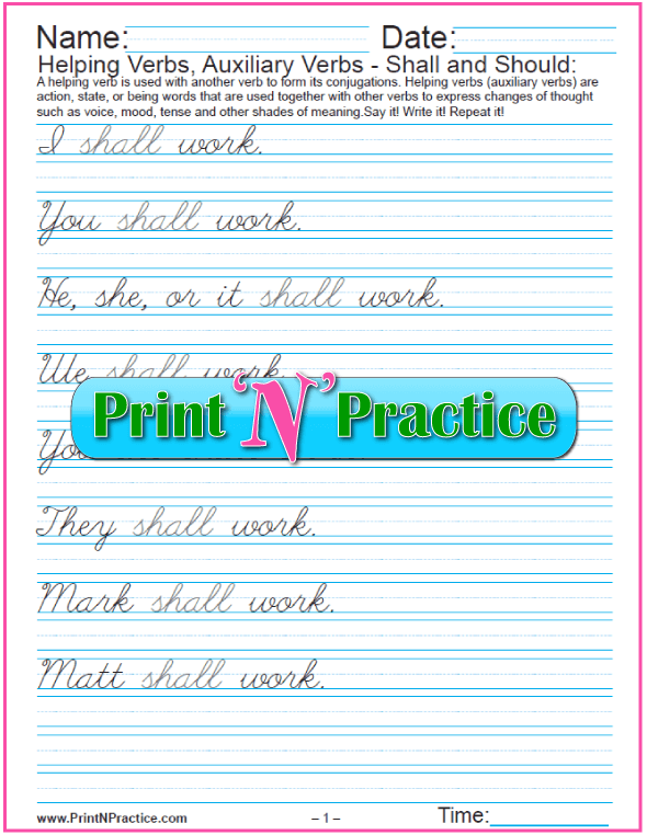 Auxiliary Verbs Worksheets: Shall and Should