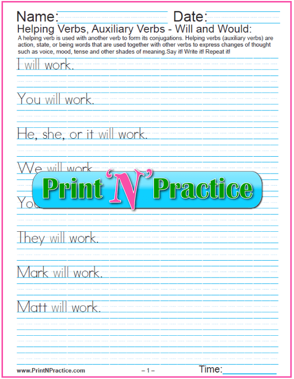Printable Verb Worksheets: Auxiliary Verbs PDFs: Will and Would