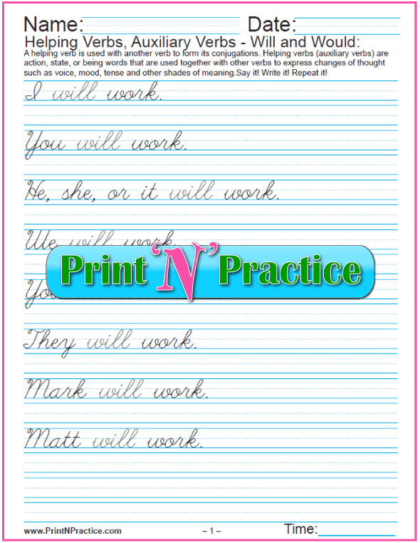 Printable Verb Worksheets: Cursive Auxiliary Verbs PDFs: Will and Would