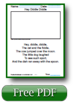 Hey Diddle Diddle Nursery Rhyme Reading Worksheets