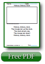 Hickory Dickory Dock Free Reading Worksheets