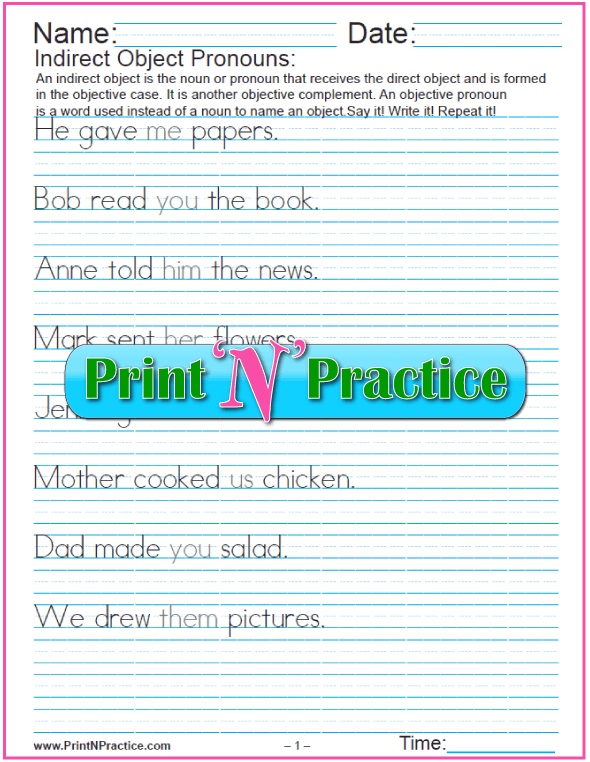 Pronoun Worksheets and Lists of Pronouns – Nouns and Pronouns Worksheet