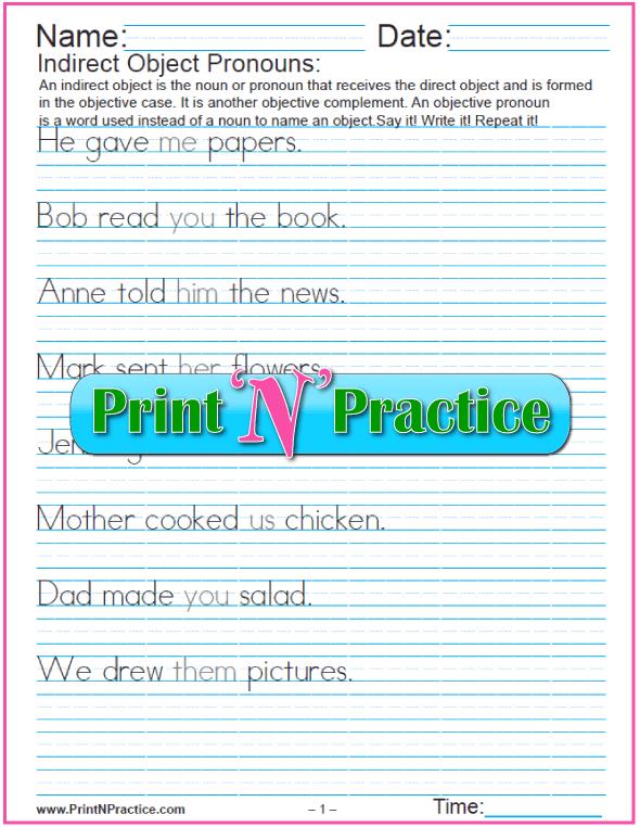 Indirect Object Pronoun Worksheet