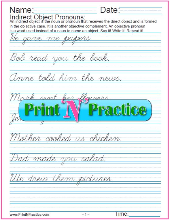 Cursive Indirect Object Pronoun Worksheet Exercises