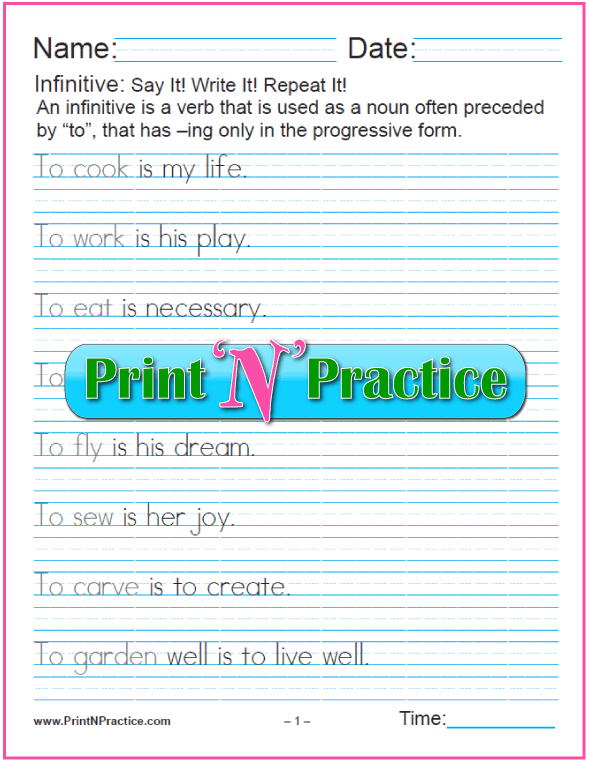 Manuscript Infinitive Phrases Worksheets: Infinitives as Subjects. Learn the gerund and infinitive with printable infinitive worksheets. PrintNPractice.com #PrintableInfinitiveWorksheets