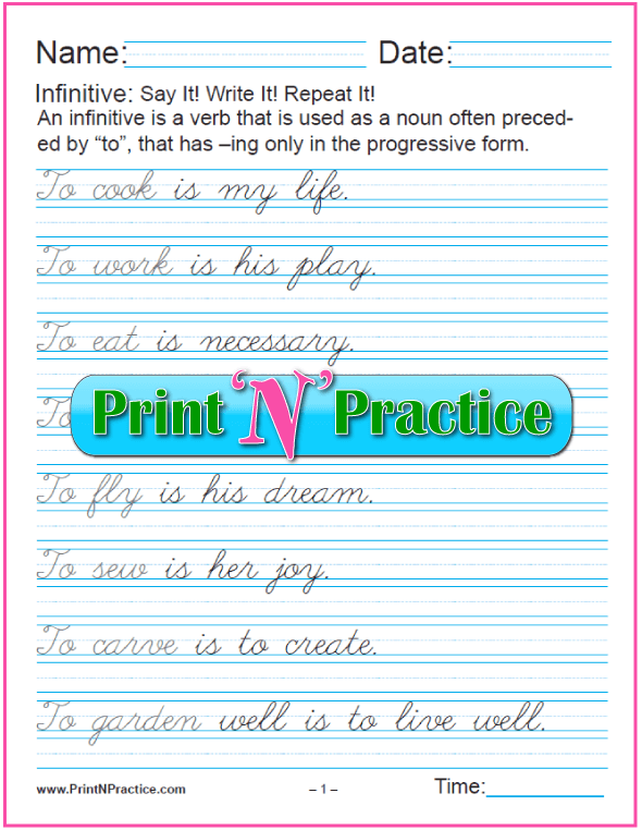 Cursive Infinitive Phrases Worksheets: Infinitives as Subjects. Learn the gerund and infinitive with printable infinitive worksheets. PrintNPractice.com #PrintableInfinitiveWorksheets
