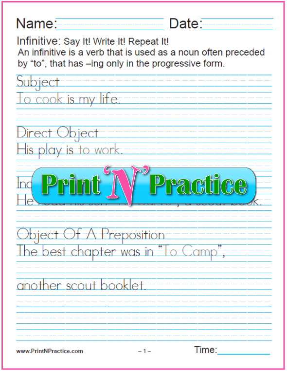 Manuscript Infinitive Phrases Worksheet: Infinitives as Different Parts of Speech. Teach the gerund and infinitive. PrintNPractice.com #PrintableInfinitiveWorksheets