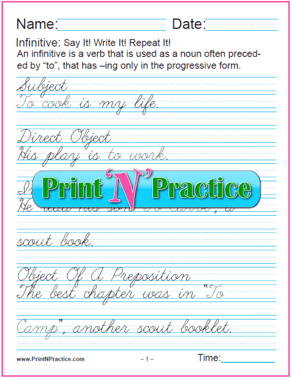 Cursive Infinitive Verb Worksheets: Infinitives as Different Parts of Speech. Teach the gerund and infinitive. PrintNPractice.com #PrintableInfinitiveWorksheets
