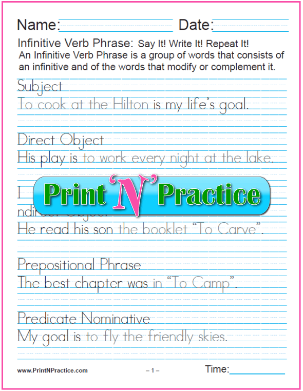 Manuscript Infinitive Worksheets: Infinitives as Phrases. Teach gerund and infinitive phrases. PrintNPractice.com #PrintableInfinitiveWorksheets