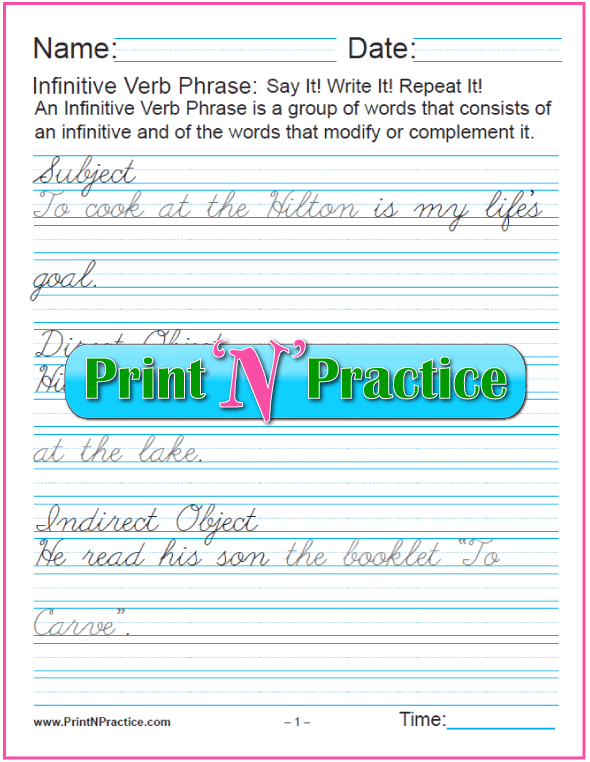 Cursive Infinitive Worksheets: Infinitives as Phrases. Teach gerund and infinitive phrases. PrintNPractice.com #PrintableInfinitiveWorksheets