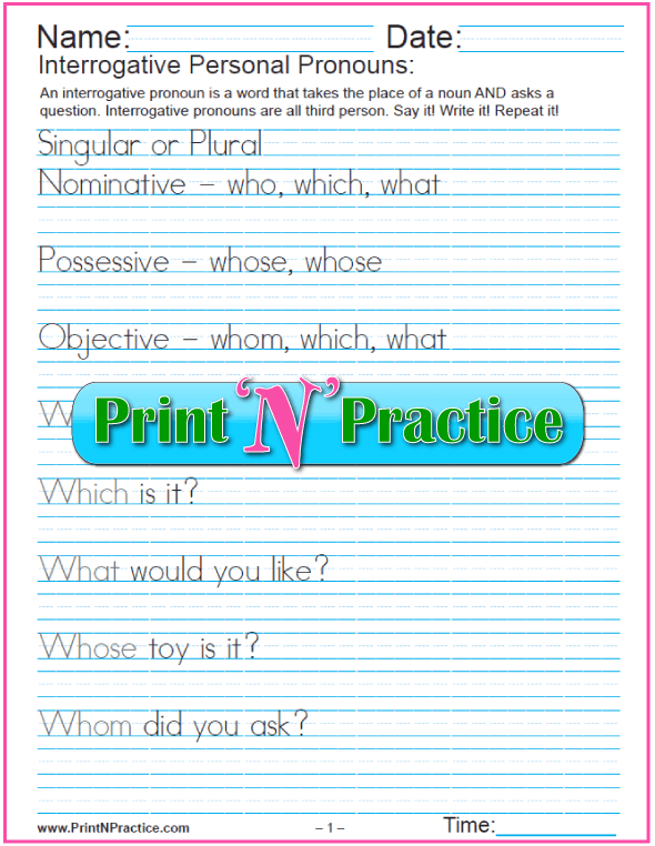Pronoun Worksheets and Lists of Pronouns – Pronouns Worksheets