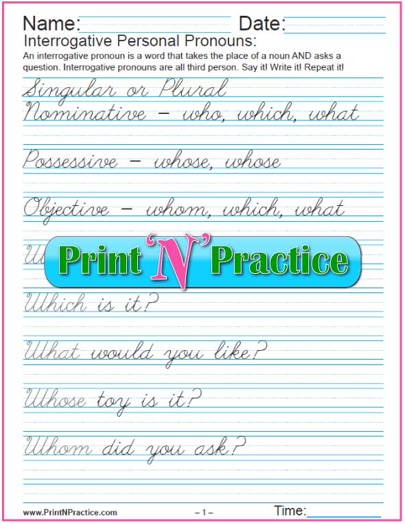 Interrogative Pronouns with Cursive Writing Practice