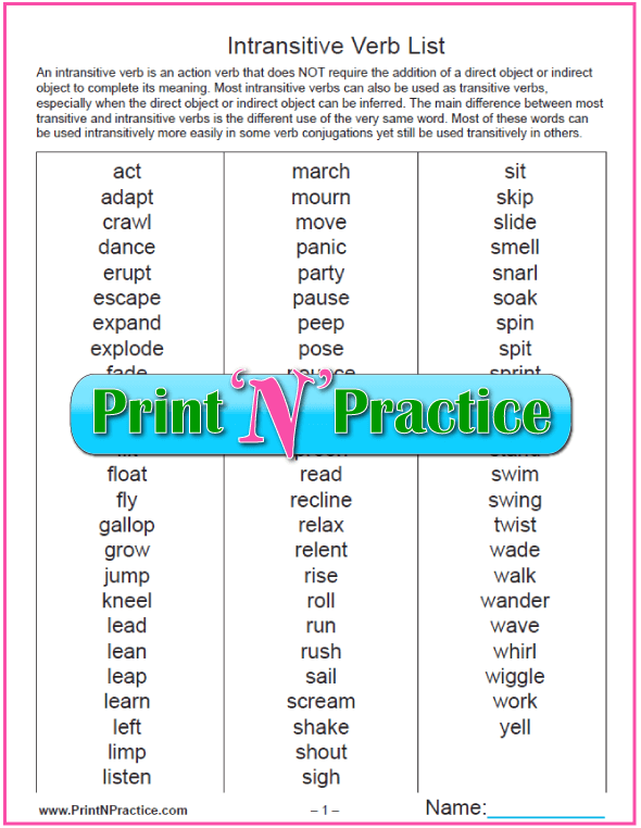 Printable List Of Verbs: Transitive and Intransitive Verbs