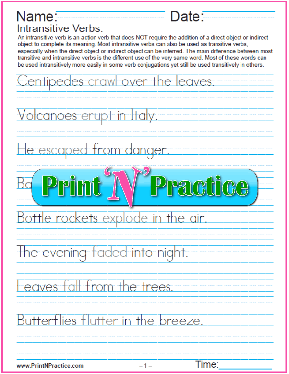 Intransitive Verbs Worksheets: Manuscript, Longer Sentences