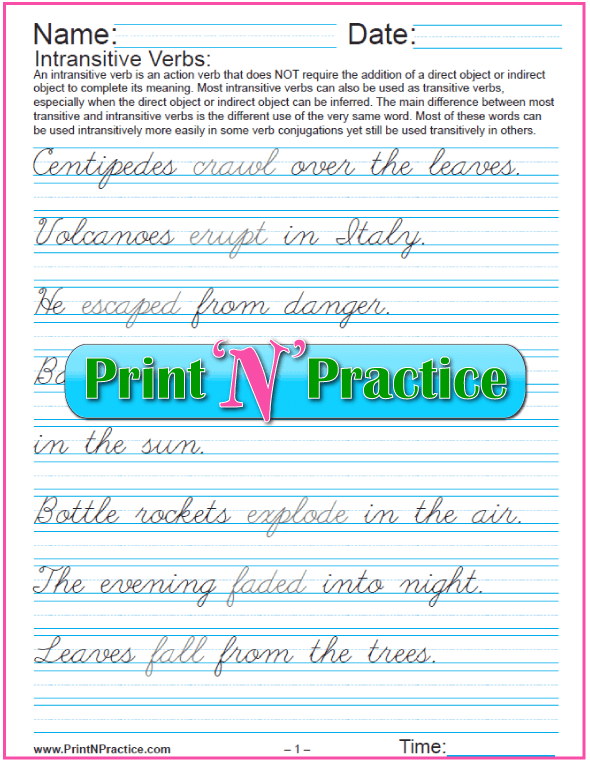 Cursive Intransitive Verb Worksheets: Long Sentences
